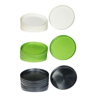 Mid Century Modern Trays Green Black and White Round Plastic Splatter Platters by Sabe's For Sale
