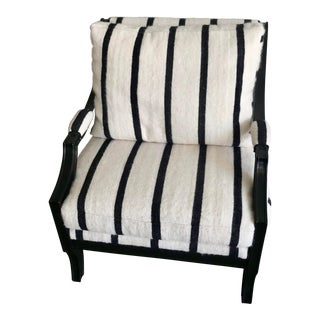 1960s Moroccan Blanket Upholstered Bergere Chair For Sale