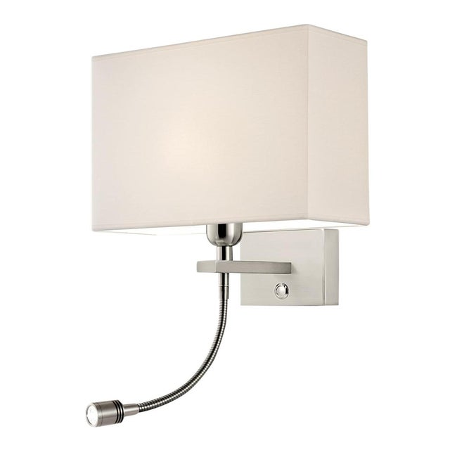 Brushed Nickel Wall Light With Led Reading Light For Sale - Image 4 of 4