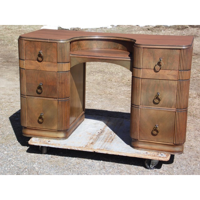 Brown Antique Art Deco Walnut Office Desk Vanity United Furniture Co. c 1930's For Sale - Image 8 of 11