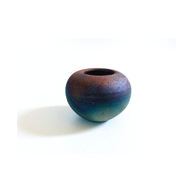 Late 20th Century Vintage Dark Raku Pottery Vase For Sale - Image 5 of 5