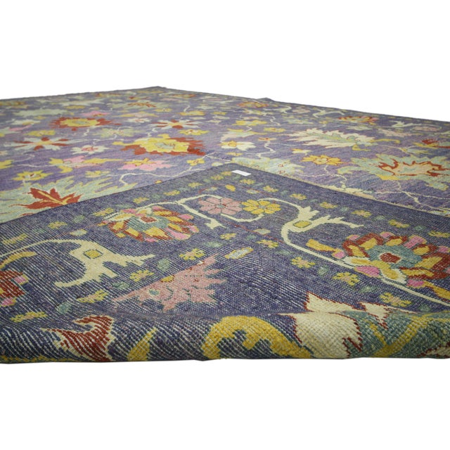 "Colorful Contemporary Turkish Oushak Rug - 11'4"" X 15'6"" For Sale - Image 9 of 10"