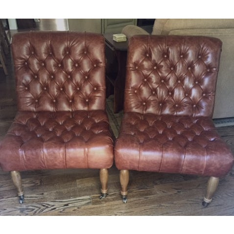 Pottery Barn Carolyn Tufted Chairs - A Pair - Image 7 of 8