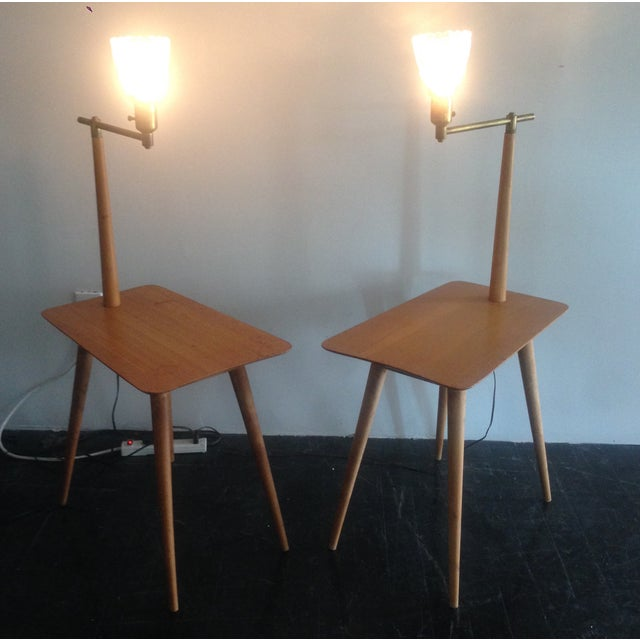 Mid-Century Maple Side Table Floor Lamps - A Pair - Image 3 of 11