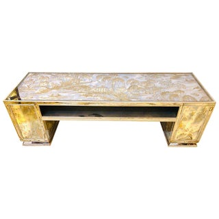 Eglomise Mirror Coffee Table in the Manner of James Mont Asian Decorated Panels For Sale