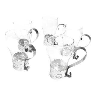 Vintage Libbey Mid Century Glasses & Removable Aluminum Metal Holders - Set of 5 For Sale