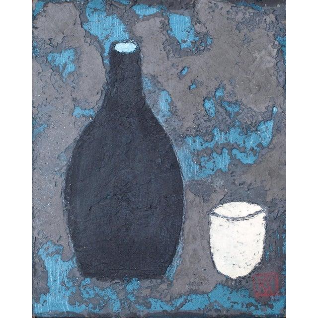 "Wood Enni Contemporary Mixed Media Still Life ""Black Sake"" For Sale - Image 7 of 7"