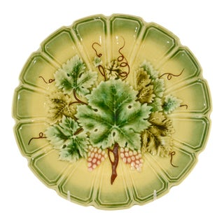 19th Century French Majolica Grape Plate For Sale