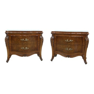 Karges French Louis XV Style Walnut Drawer Nightstands - a Pair For Sale
