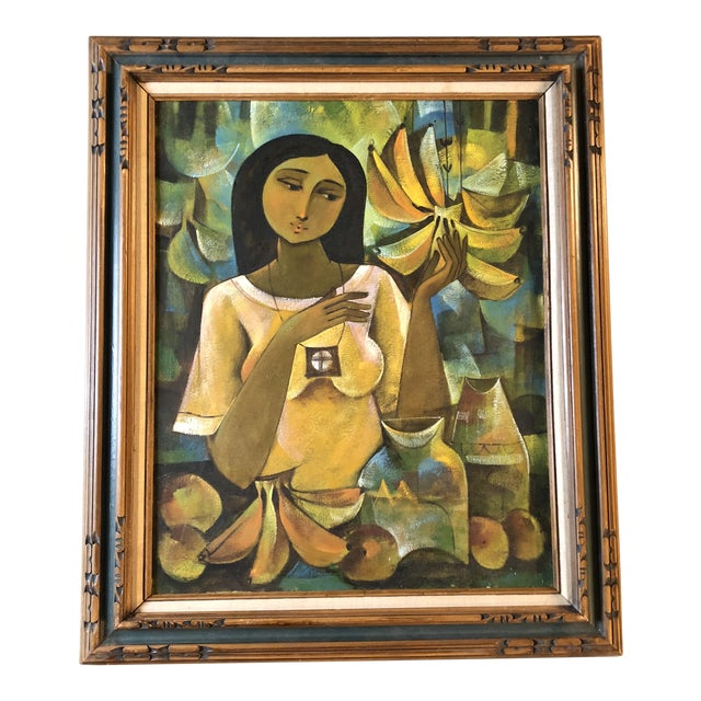 Original Modernist Tropical Female Portrait Painting For Sale