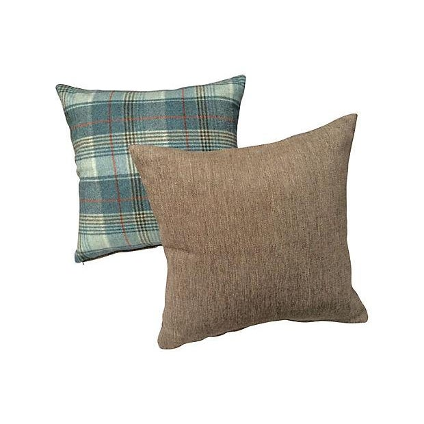 Scottish Wool Plaid Pillows - Pair - Image 3 of 3