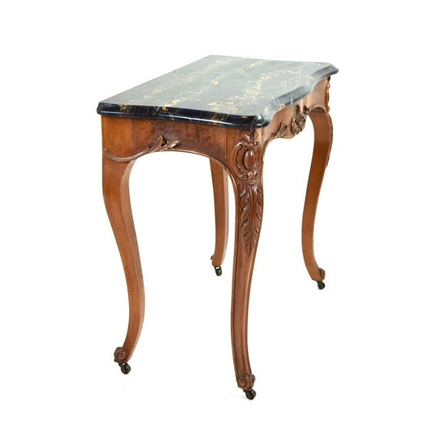 Antique French Louis XV Heavily Carved Marble Top Hall Console Table Cabriolet Legs For Sale - Image 9 of 12