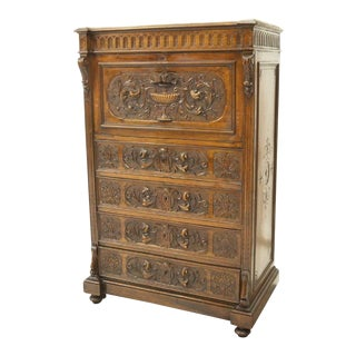 19th Century French Henri II Style Walnut Secretaire a Abattant Secretary Desk For Sale