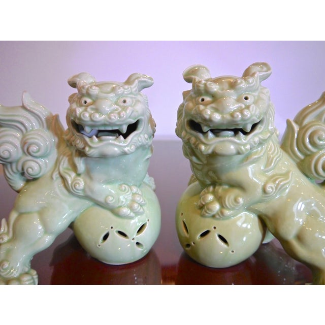1960s Celadon Japanese Foo Dogs - a Pair For Sale - Image 5 of 5