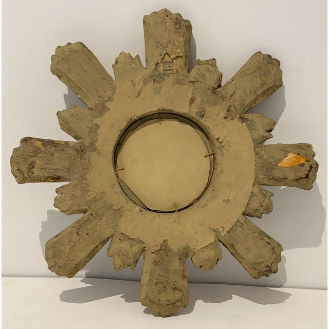 Wood Mid-Century Florentine Giltwood Sunburst Antiqued Mirror For Sale - Image 7 of 11