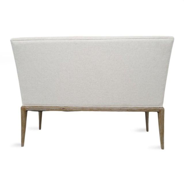 2010s Washed Oak High Back Linen Bench For Sale - Image 5 of 7