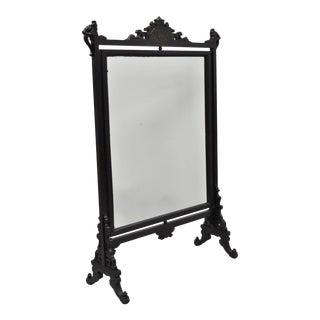 Antique Victorian Ebonized Oriental Revolving Fire Screen Fireplace Panel For Sale
