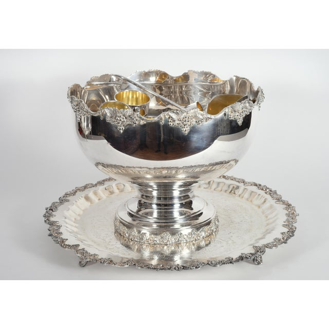 Vintage English Georgian Style Silver Plated Copper Punch Bowl Set - 15 Pc. For Sale - Image 11 of 13