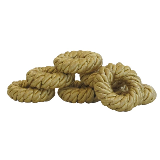 Gold Rope Napkin Holders - Set of 7 - Image 1 of 5