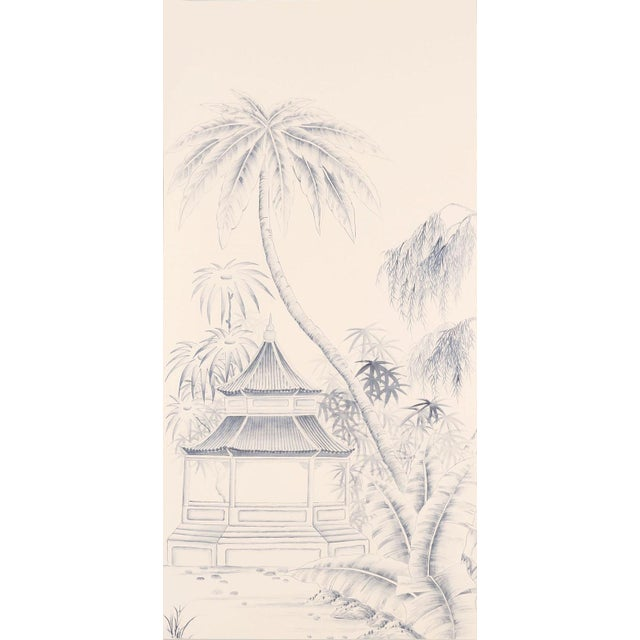 Traditional hand-painted Chinoiserie silk wallpaper used since the 17th century chateaux and finer homes scaled down to...