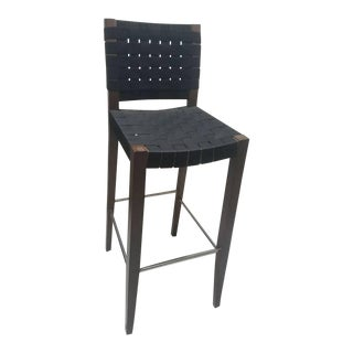 Andreu World Urbe Stool Mahogany Wood Black Webbing Barstool For Sale