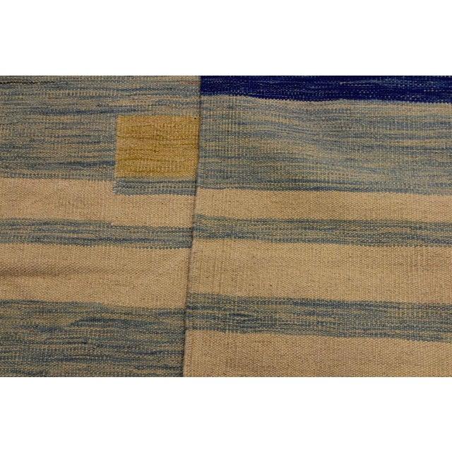 Textile Modern Bauhaus Shultz Blue Hand-Woven Kilim Wool Rug - 8′11″ × 12′3″ For Sale - Image 7 of 8
