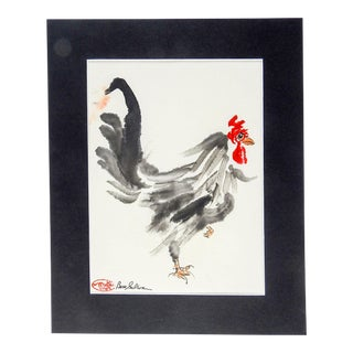Watercolor Rooster Painting For Sale