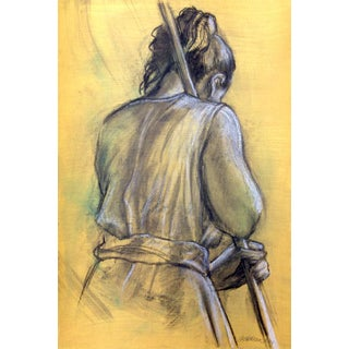 "Mixed Media Figure Drawing by Kathleen Ney, ""Working"" For Sale"