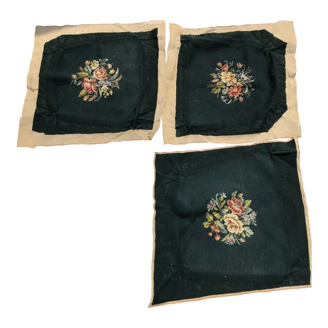 Victorian Style Floral Handmade Needlepoint Seat Covers S/3 For Sale