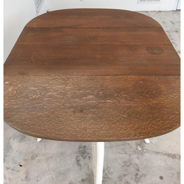 Wicker & Oak Drop-Leaf Dining Table For Sale - Image 9 of 10