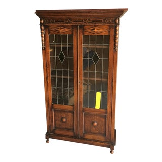 1900s Traditional French Leaded Glass Oak Bookcase For Sale