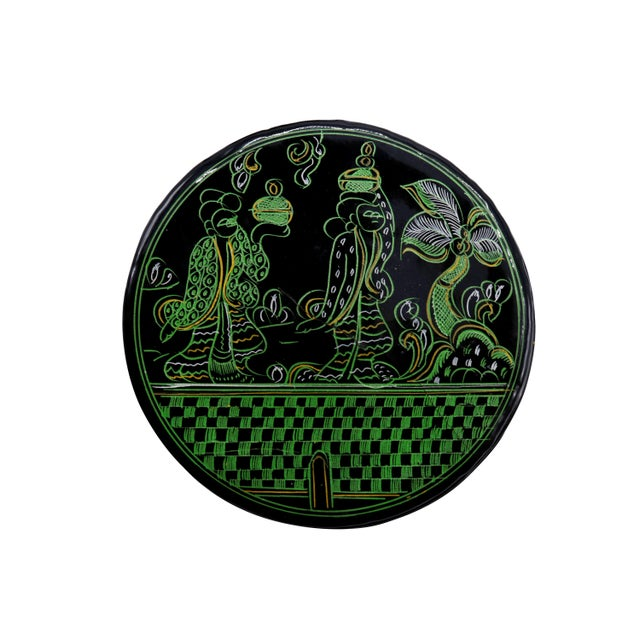 Boho Chic Black & Green Lacquered Coasters - Set of 6 For Sale - Image 3 of 7