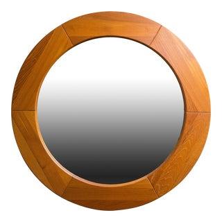"""Pedersen & Hansen Viby J. Mid-Century 31"""" Round Wall Teak Mirror"""