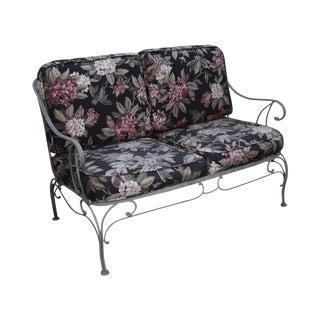 Custom Floral Cushion Iron Patio Settee