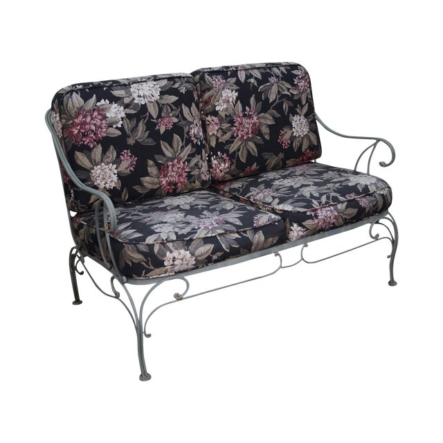 Custom Floral Cushion Iron Patio Settee - Image 1 of 10
