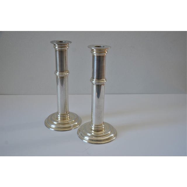 Metal Art Deco Silver Plate Candle Holders by Jean Puiforcat, France - a Pair For Sale - Image 7 of 11