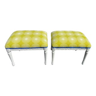 Pair of Gustavian Inspired Stools For Sale