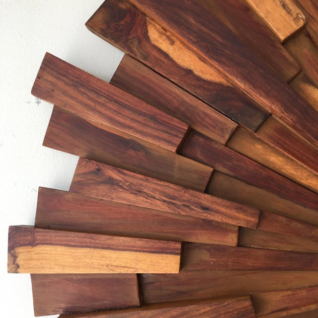 Brutalist Style Wood Sunburst Mirror For Sale - Image 5 of 5