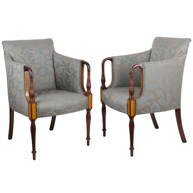 Southwood sheraton style inlaid mahogany club chairs a for What is sheraton style furniture