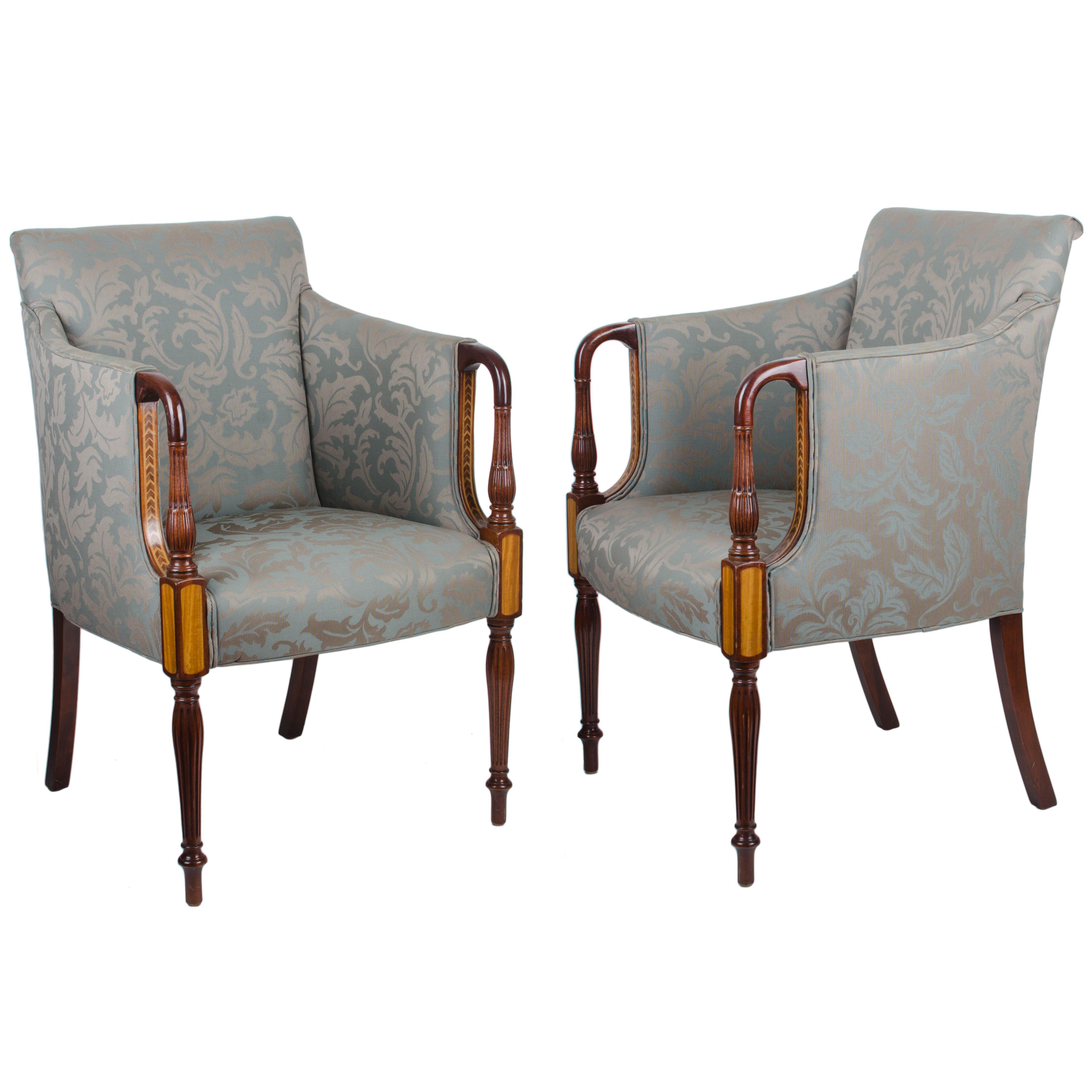 Ordinaire Southwood Sheraton Style Inlaid Mahogany Club Chairs   A Pair