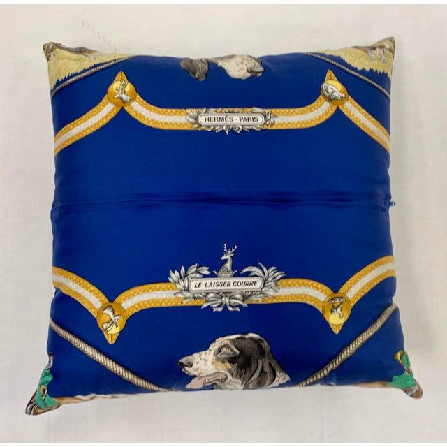 1980s Hermès Paris Blue Silk Scarf Fox Hunt Pillow For Sale - Image 5 of 8