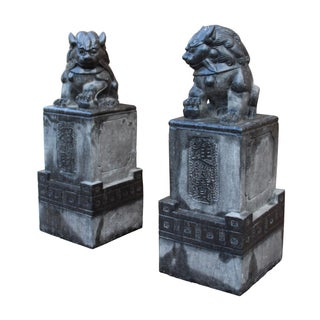 Chinese Gray Stone Fengshui Pedestal Foo Dog Statues - A Pair Preview