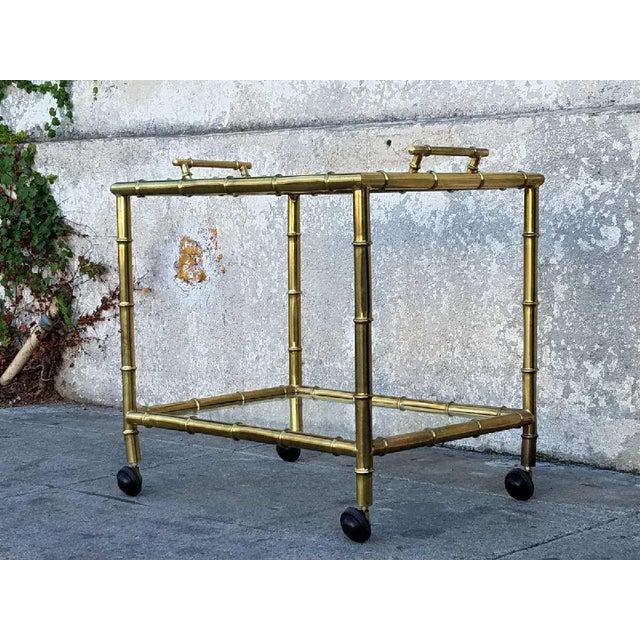 Vintage Gold Bamboo Bar Cart - Image 3 of 5
