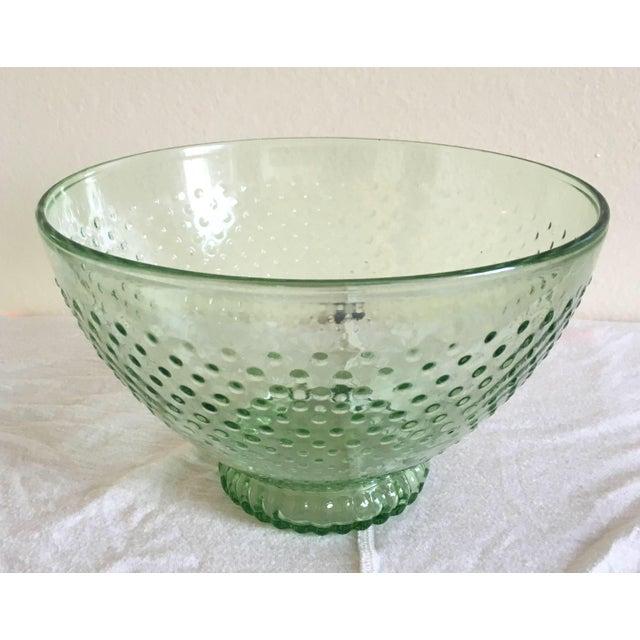 Green Depression Glass Hobnail Serving Bowl - Image 3 of 5