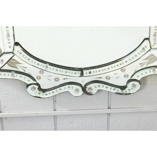 Italian Mid 20th Century Etched Venetian Mirror For Sale - Image 3 of 9