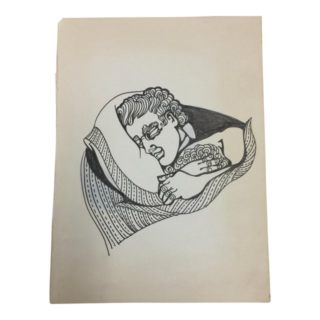 Sleeping Man Ink Drawing C. 1980 For Sale