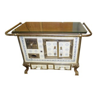 Antique European French Belgium Cast Iron Tiled Wood Coal Burning Stove With Glass Top For Sale