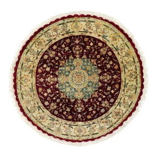 Round Vintage Tabriz Persian Rug with Traditional Style For Sale