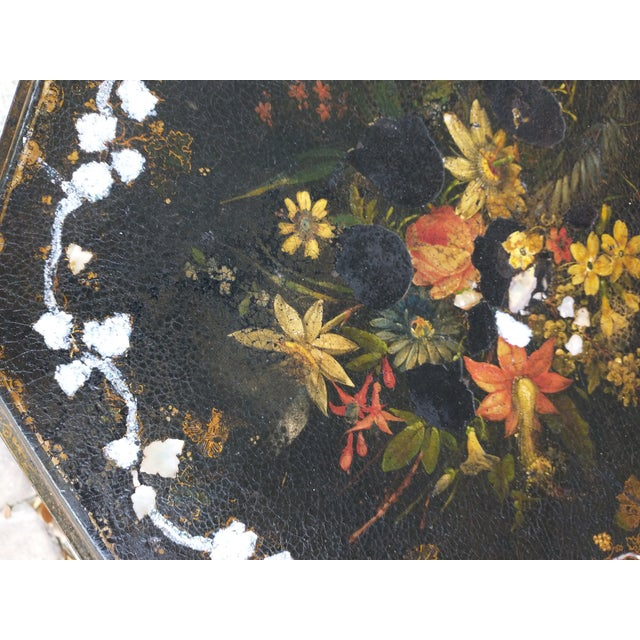 Black Antique Paper Mache Table With Inlay Mother of Pearl For Sale - Image 8 of 10