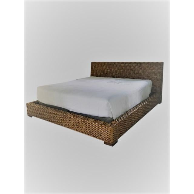 """Ralph Lauren platform bed- King size measures on the outside 87.5"""" x 97.5"""" L x 42"""" headboard ht. Inside measurements are..."""